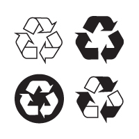 Recyclable, recycling logo vector