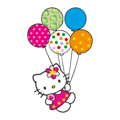 Hello Kitty con globitos vector logo