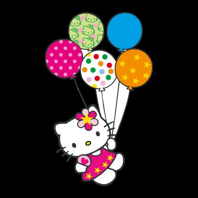 Hello Kitty con globitos logo vector