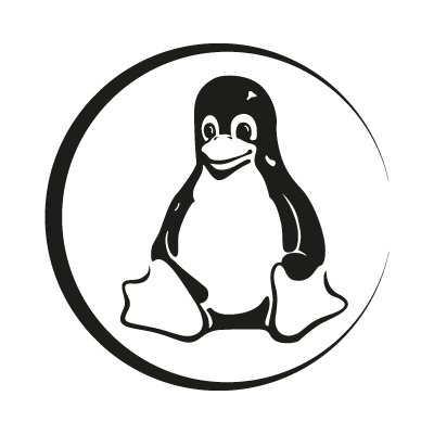 Linux Tux black vector logo free download