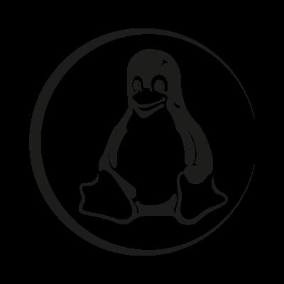 Linux Tux black logo vector