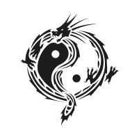 Yin yang dragon vector logo