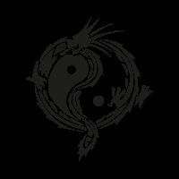 Yin yang dragon vector logo
