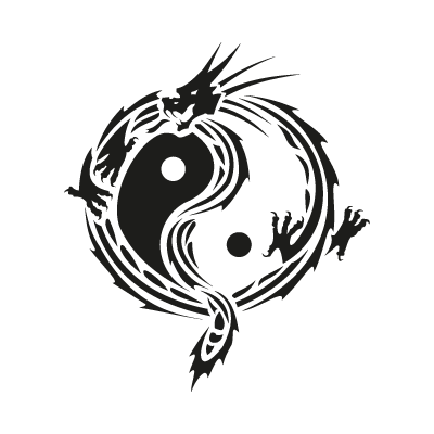 Yin yang dragon logo vector