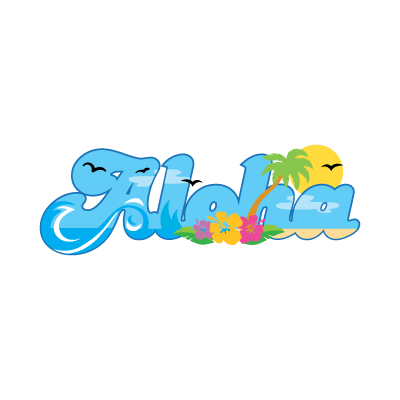 Aloha hawaii summer logo template