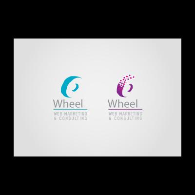 Blue and purple wheel logo template