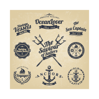 Classic nautical stickers logo template