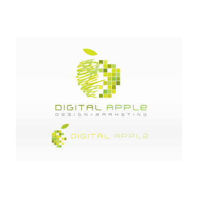 Digital colorful apple logo template
