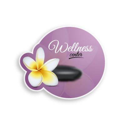 Flower on Spa stone logo template