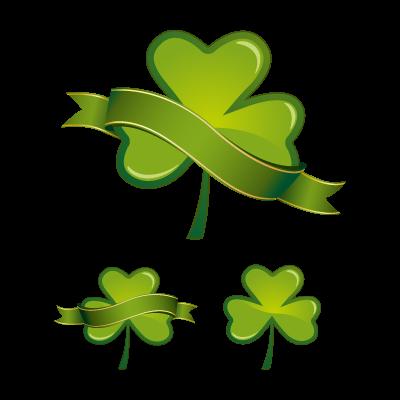 Green glossy shamrock logo template