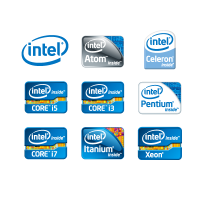 Intel stickers logo template