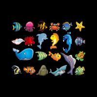Marine animal cartoons logo template