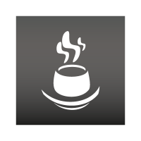 Steaming coffee cup logo template