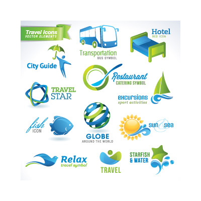 Travel icons logo template