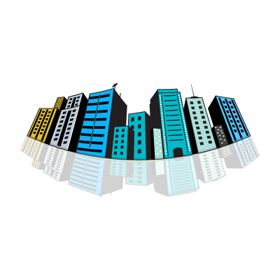 Colored city buildings logo template