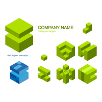 Cube material logo template