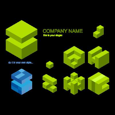 Cube material logo template