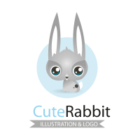 Cute rabbit logo template