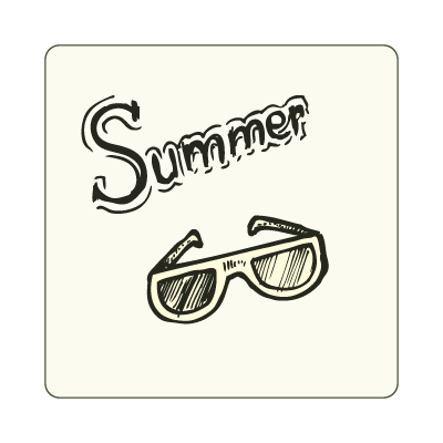 Doodle summer logo template