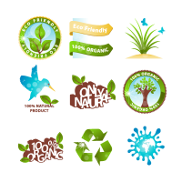 Green icon and sticker logo template