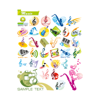 Music theme logo template
