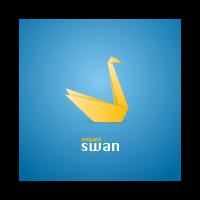 Origami swan logo template