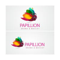 Papillon cartoon logo template