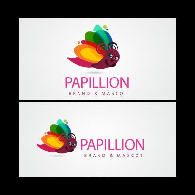 Papillon cartoon logo template