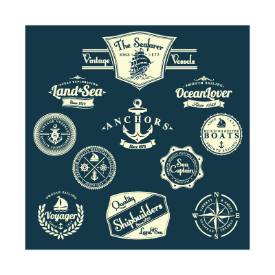 Sailing labels logo template
