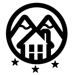 Rural hotel with mountains logo of three stars