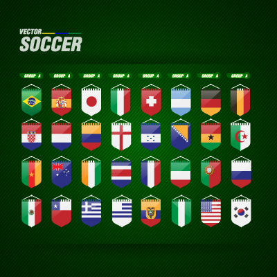 World Cup flags vector download