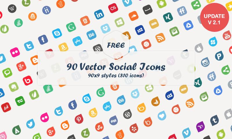 90 Social Media Vector Flat Icons