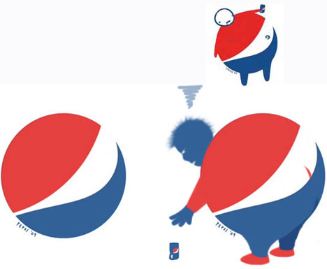Through its development history, Pepsi has changed its logo several times later. Looking at Pepsi's current logo, people may image about a chubby boy drinking much this drink as funny picture above