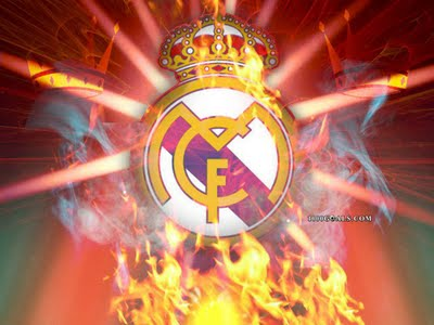 real madrid logo fire background