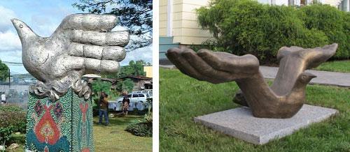 Dove hand monument